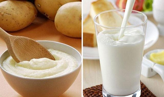 Cách trị thâm mụn bằng khoai tây và sữa chua