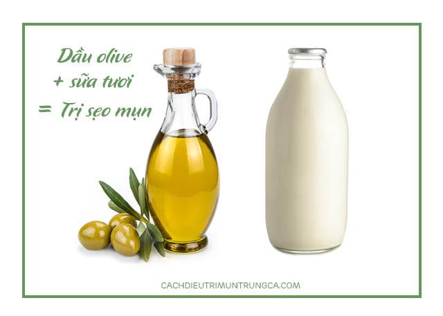 mặt nạ trị sẹo mụn từ dầu olive và sữa tươi