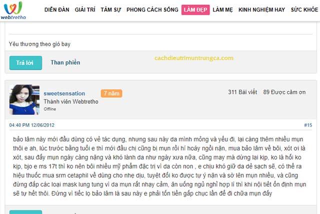 review về kem trị mụn Bảo Lâm