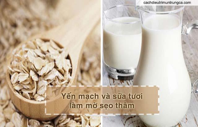 chữa sẹo thâm với bột yến mạch và sữa tươi
