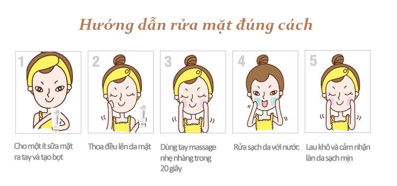 Kết quả hình ảnh cho hướng dẫn rửa mặt đúng cách