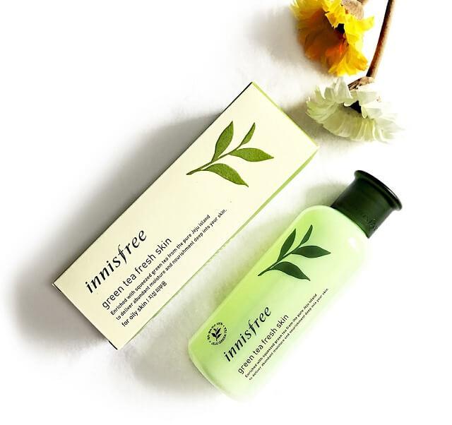 TonerInnisfree green tea fresh skin dành cho da hỗn hợp thiên dầu