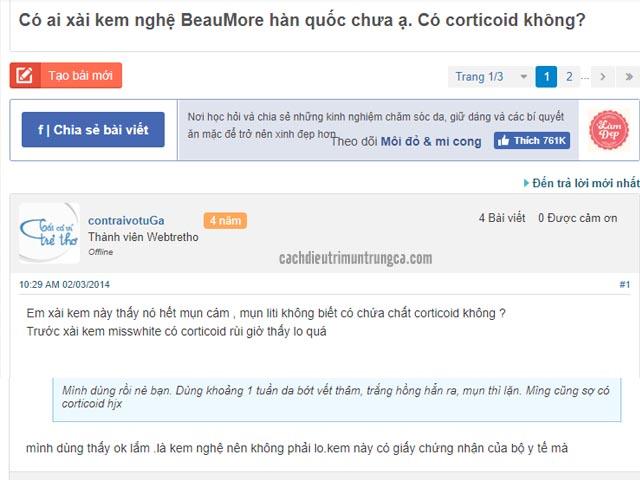 Review kem trị mụn Beaumore