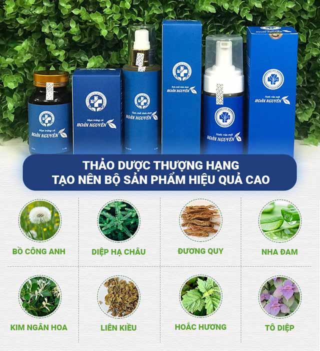 Bộ sản phẩm trị mụn Hoàn nguyên được bào chế, chiết xuất từ 100% các loại thảo dược nên an toàn tuyệt đối kể cả với làn da nhạy cảm