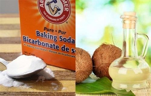 Mặt nạ trị mụn giảm vết thâm từ baking soda, dầu dừa